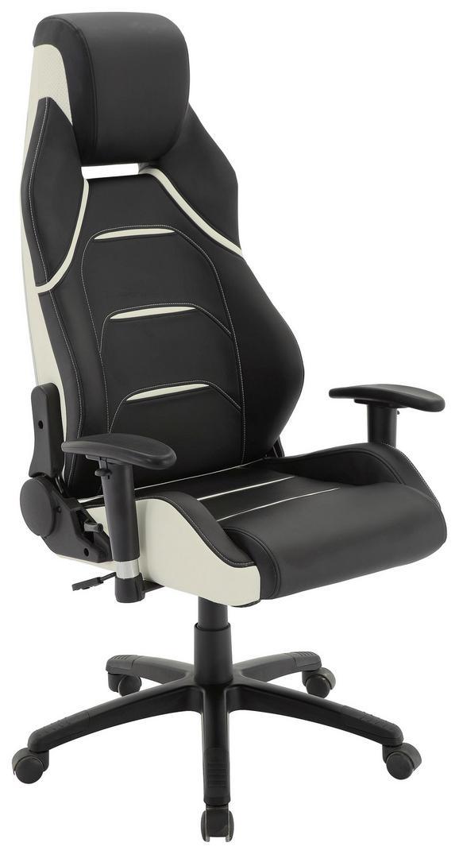 Gamingstuhl Rossi in Schwarz/Weiß - Schwarz/Weiß, MODERN, Kunststoff/Textil (67/126/134/72cm) - Premium Living