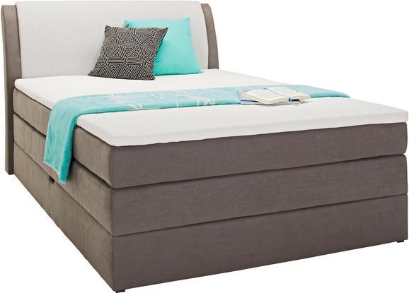 Boxspringbett in Grau ca. 120x200cm - Hellgrau/Grau, KONVENTIONELL, Textil (120/200cm) - Premium Living