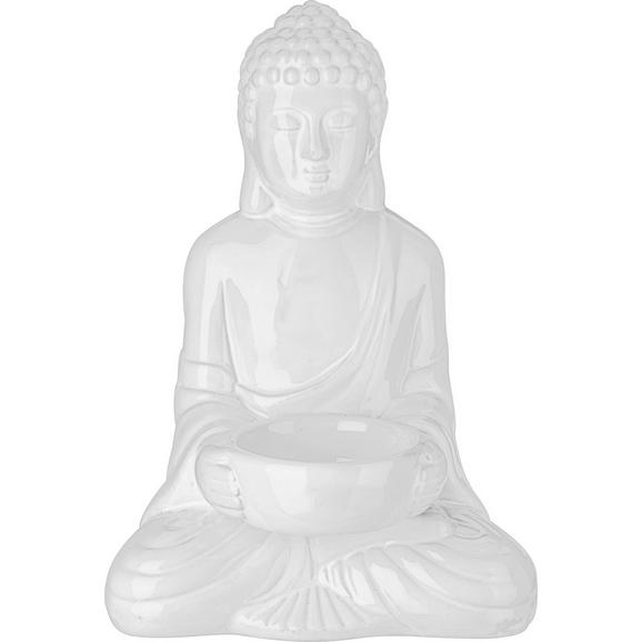 Teelichthalter Buddha Weiß - Weiß, LIFESTYLE, Keramik (11,6/9/16,7cm) - Mömax modern living