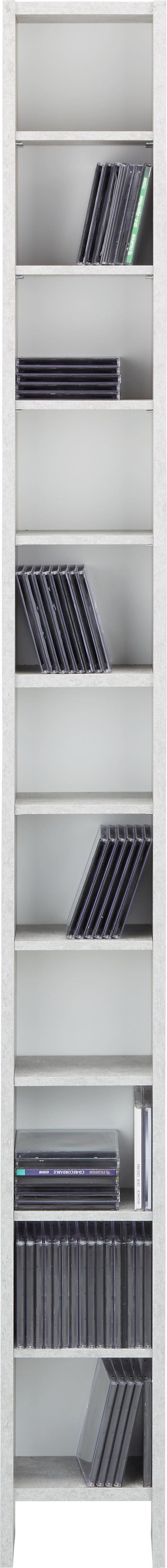 CD-Regal Grau/Weiß - Weiß/Grau, Holz/Holzwerkstoff (19,5/185/16,5cm) - Mömax modern living