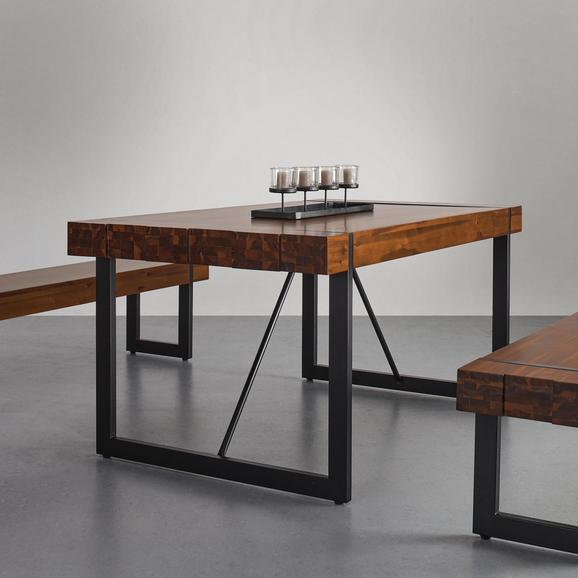 Esstisch aus Massivholz 160x90 cm 'Phil' - Schwarz/Akaziefarben, MODERN, Holz/Metall (160/90/75cm) - Bessagi Home
