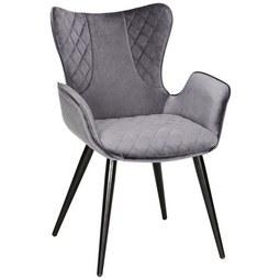 Stuhl aus Samt in Grau - Schwarz/Grau, MODERN, Textil/Metall (63/88/61cm) - Modern Living