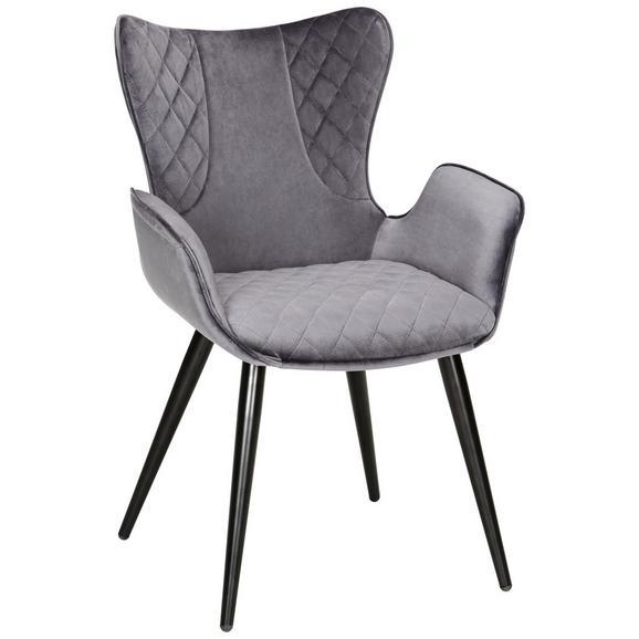 Stuhl in Grau/Schwarz - Schwarz/Grau, MODERN, Textil/Metall (63/88/61cm) - Modern Living