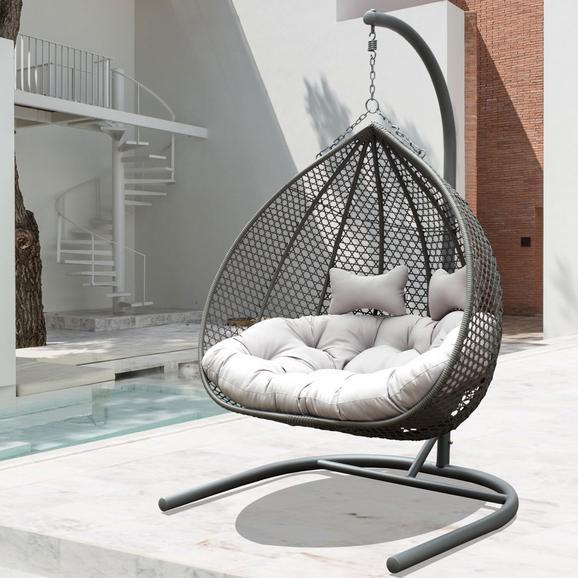 Hängesessel Bari - Dunkelgrau/Hellgrau, MODERN, Kunststoff/Textil (130/201/116cm) - Modern Living
