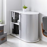 Aktenschrank Basic - Silberfarben/Weiß, MODERN, Holz/Holzwerkstoff (92/70/40cm) - Bessagi Home