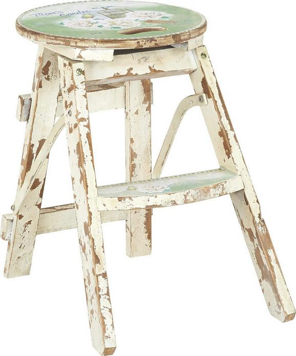 Klapphocker Weiß/grün - Multicolor/Hellgrün, LIFESTYLE, Holz/Holzwerkstoff (30/30/43cm) - Mömax modern living