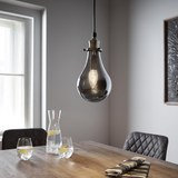 Hängeleuchte Luciana - Messingfarben/Grau, MODERN, Glas (13.5/129.5cm) - Modern Living