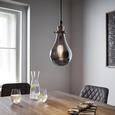 Hängeleuchte max. 25 Watt Schirm Rauchglas 'Luciana' - Grau, MODERN, Glas (13.5/129.5cm) - Bessagi Home