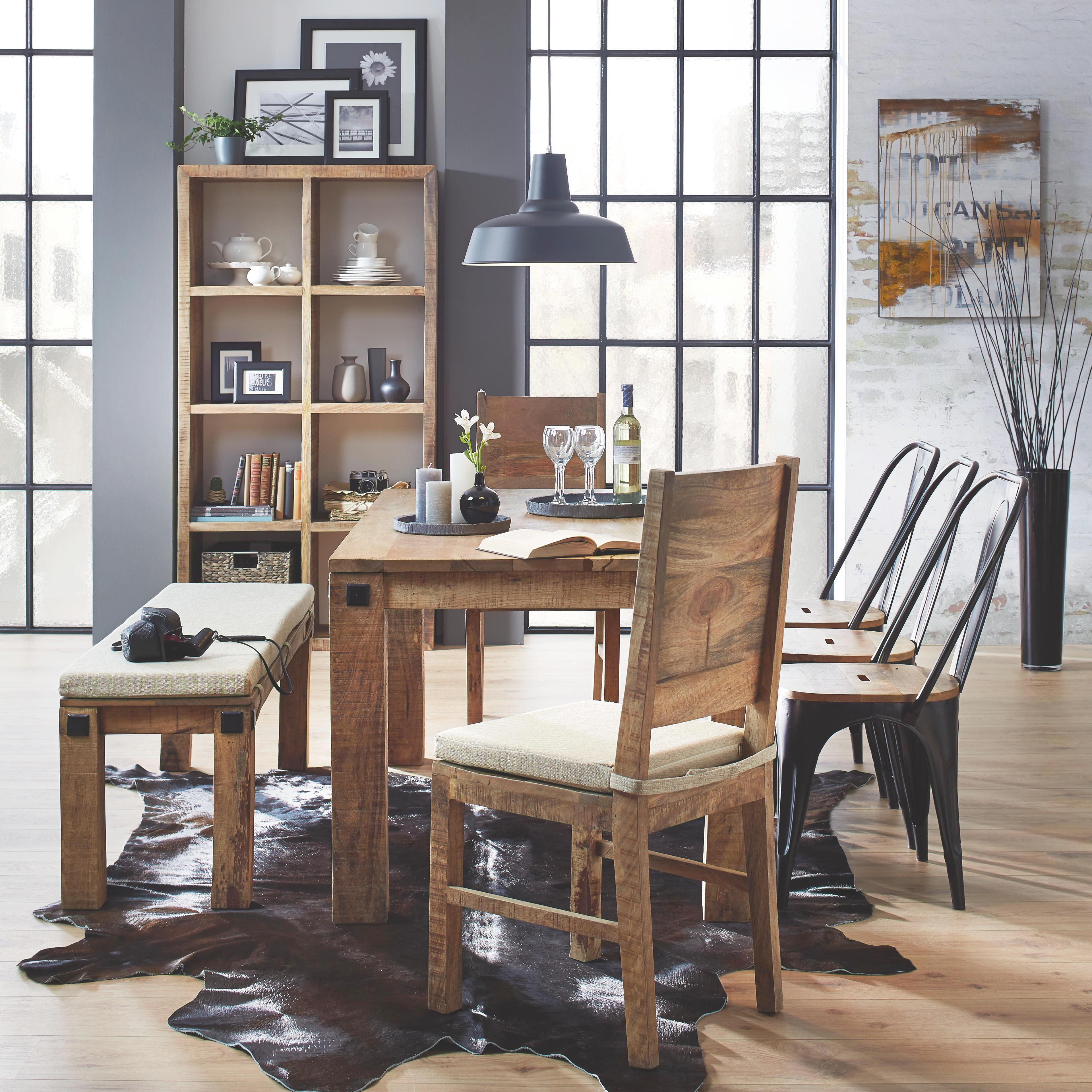 Sitzbank in Braun aus Mango massiv - Naturfarben, LIFESTYLE, Holz (140/40/45cm) - ZANDIARA