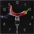 Wanduhr Red Hot Chilli Pepper - Rot/Schwarz, MODERN, Glas/Metall (30/30/3,5cm) - Mömax modern living