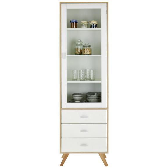 Vitrine in Weiß - Silberfarben/Weiß, MODERN, Glas/Holzwerkstoff (56 /200/40 cm) - Modern Living