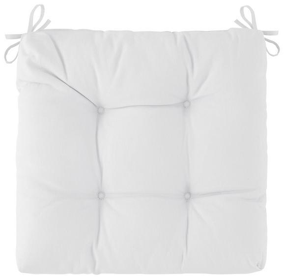 Sitzkissen Elli in Weiß, ca. 40x7x40cm - Naturfarben, Textil (40/7/40cm) - Based
