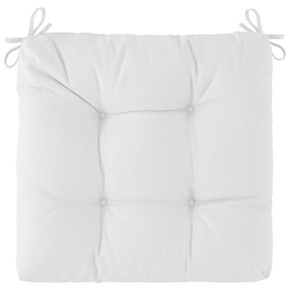 Sitzkissen Elli in Weiß ca. 40x7x40cm - Naturfarben, Textil (40/40/7cm) - Based