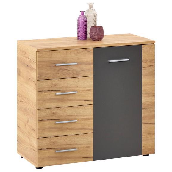 Comodă Uno - culoare lemn stejar/gri, Modern, compozit lemnos (88/80/40cm)