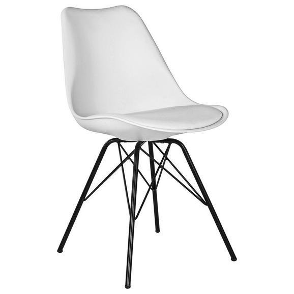 Stuhl in Weiß - Schwarz/Weiß, MODERN, Kunststoff/Textil (55,5/86/48cm) - Modern Living