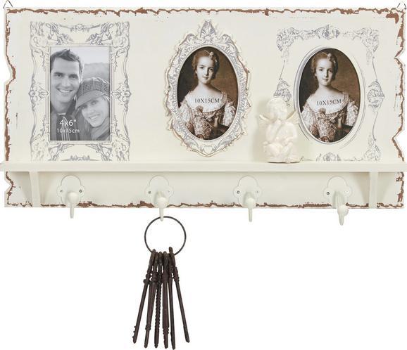 Hakenleiste in Weiß - Weiß, ROMANTIK / LANDHAUS, Glas/Holzwerkstoff (62,5/32/9cm) - Premium Living