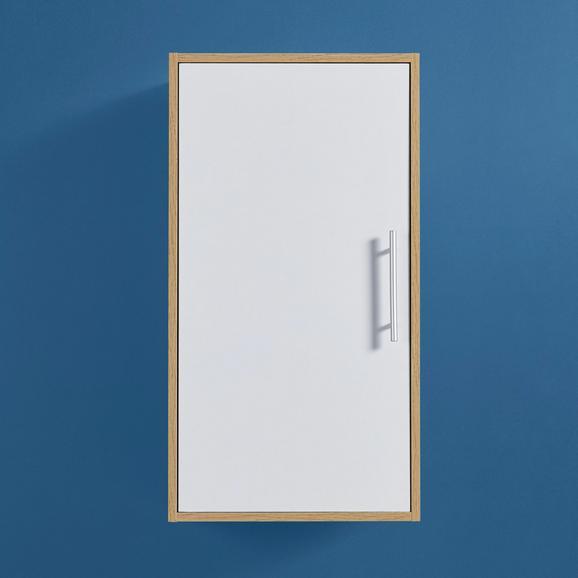 Hängeschrank in Weiß 'Lilja' - Eichefarben/Weiß, MODERN, Holz/Metall (45/80/35cm) - Bessagi Home