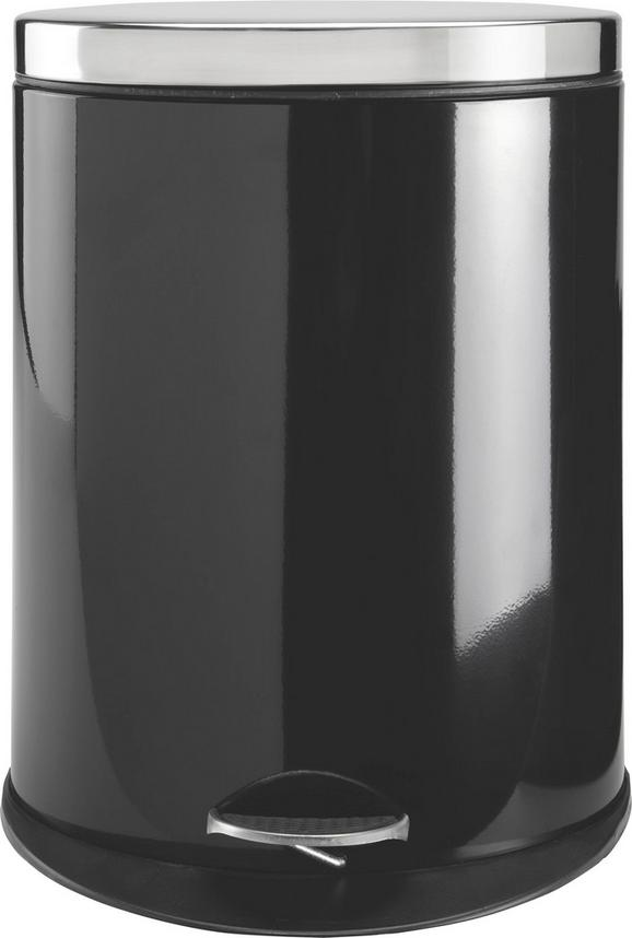 Treteimer Carmen Schwarz ca. 20 Liter - Edelstahlfarben/Schwarz, MODERN, Kunststoff/Metall (34/43,7/25cm) - Mömax modern living