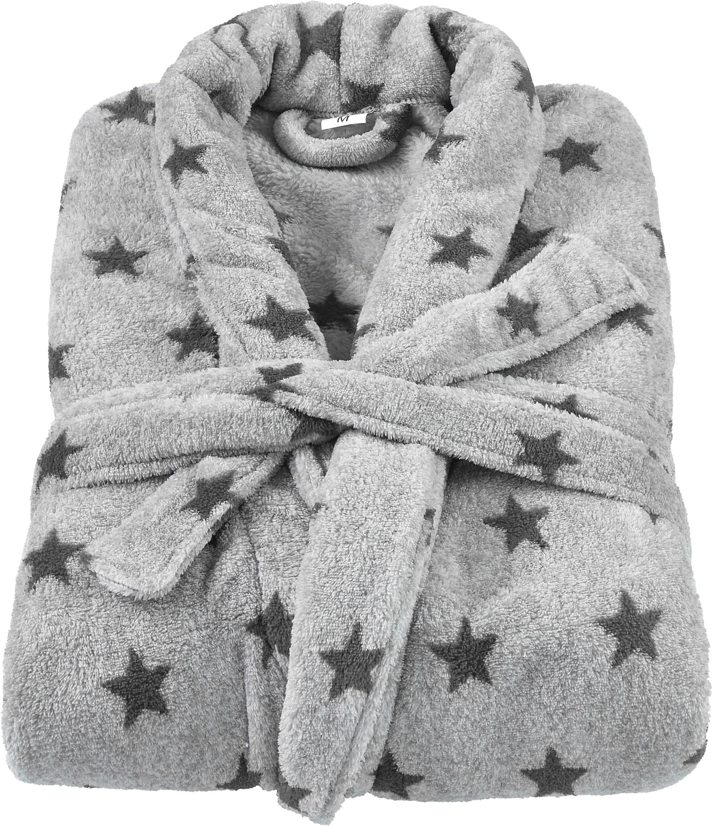 Bademantel Sterne in Grau mit Sternen - Dunkelgrau/Grau, Textil (S-L) - MÖMAX modern living