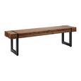 Sitzbank aus Massivholz in Akazienfarben 'Phil' - Schwarz/Akaziefarben, MODERN, Holz/Metall (160/45/36cm) - Bessagi Home