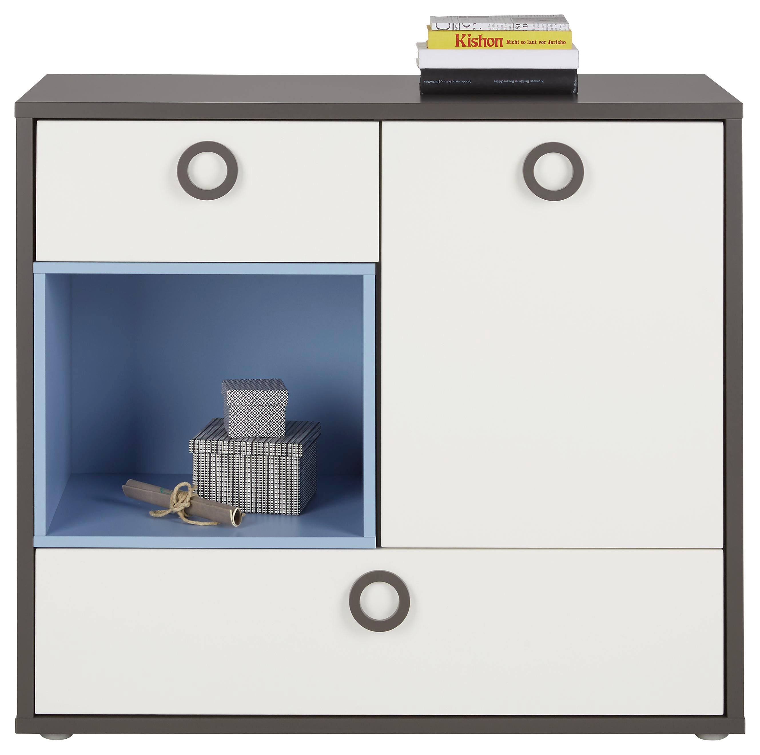 Kommode in Weiß/Grau/blau - Blau/Alufarben, KONVENTIONELL, Holzwerkstoff/Kunststoff (95/87/42cm) - MODERN LIVING