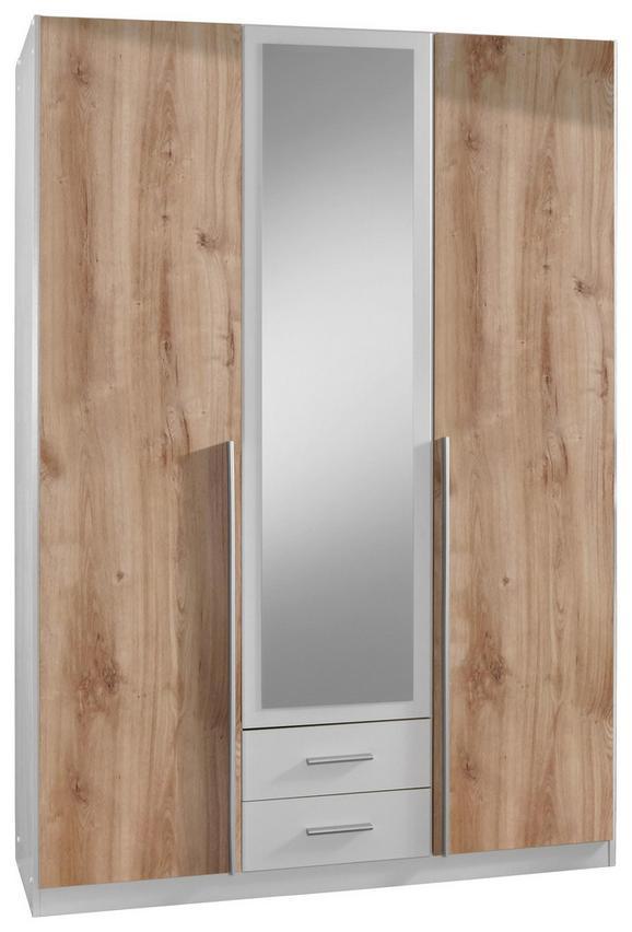 Drehtürenschrank Weiß/Eichefarben - Eichefarben/Alufarben, KONVENTIONELL, Holzwerkstoff/Kunststoff (135/198/58cm) - Modern Living