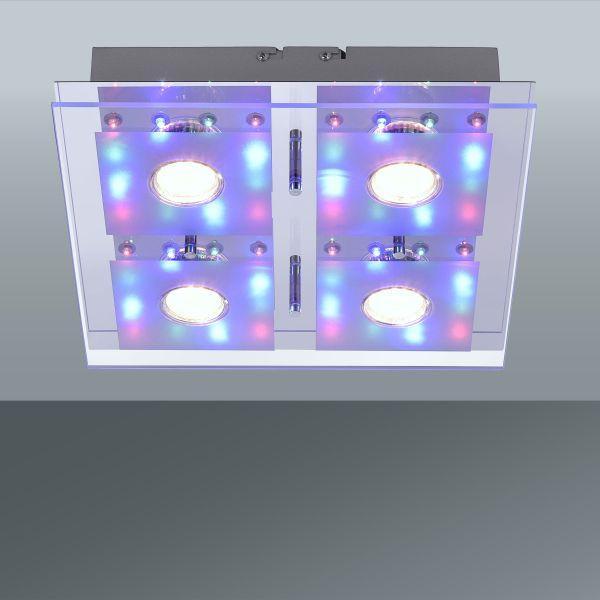 Led Mennyezeti Lámpa Stefan - nikkel színű, modern, üveg/fém (30/30/7,3cm)