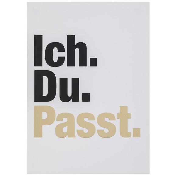 Postkarte Ich. Du. Passt! - Goldfarben/Schwarz, MODERN, Papier (10,5/14,8cm)