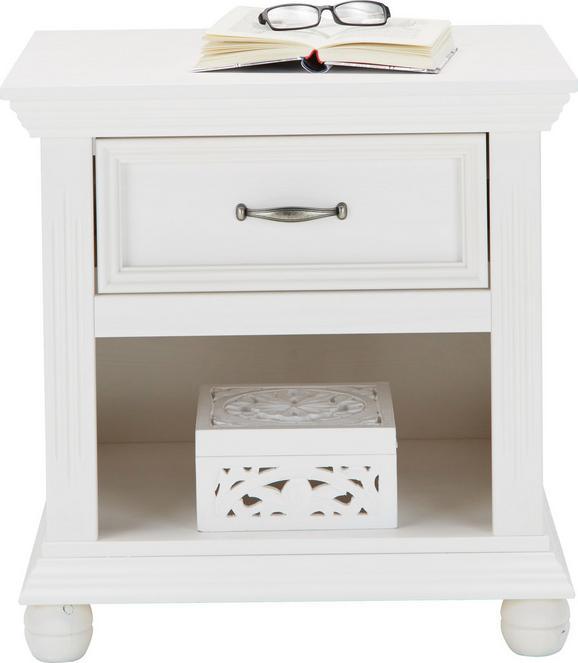 Nachtkästchen in Weiß Aus Massiv Holz - Weiß, ROMANTIK / LANDHAUS, Holz/Metall (56 57 45cm) - Zandiara