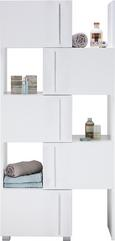 Regalelement in Weiß - Chromfarben/Weiß, MODERN, Holzwerkstoff/Metall (47-78/164/35cm) - Mömax modern living