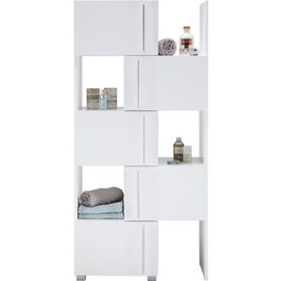 Regalelement Weiß - Chromfarben/Weiß, MODERN, Holzwerkstoff/Metall (47-78/164/35cm) - Mömax modern living