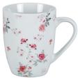 Kaffeebecher Roseanne in Weiß ca. 330ml - Pink/Grau, ROMANTIK / LANDHAUS, Keramik (8,4/10,5/cm) - Zandiara