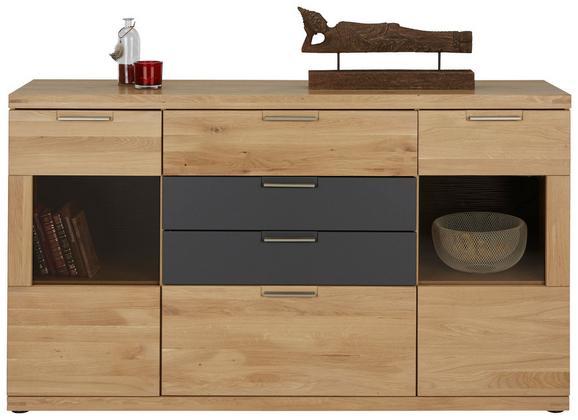 Sideboard Graphit/Eiche - Eichefarben/Graphitfarben, KONVENTIONELL, Holz/Holzwerkstoff (165/94/42cm) - Zandiara