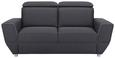 Zweisitzer-Sofa Dunkelgrau - Dunkelgrau/Silberfarben, MODERN, Kunststoff/Textil (186/88-105/103cm) - Modern Living