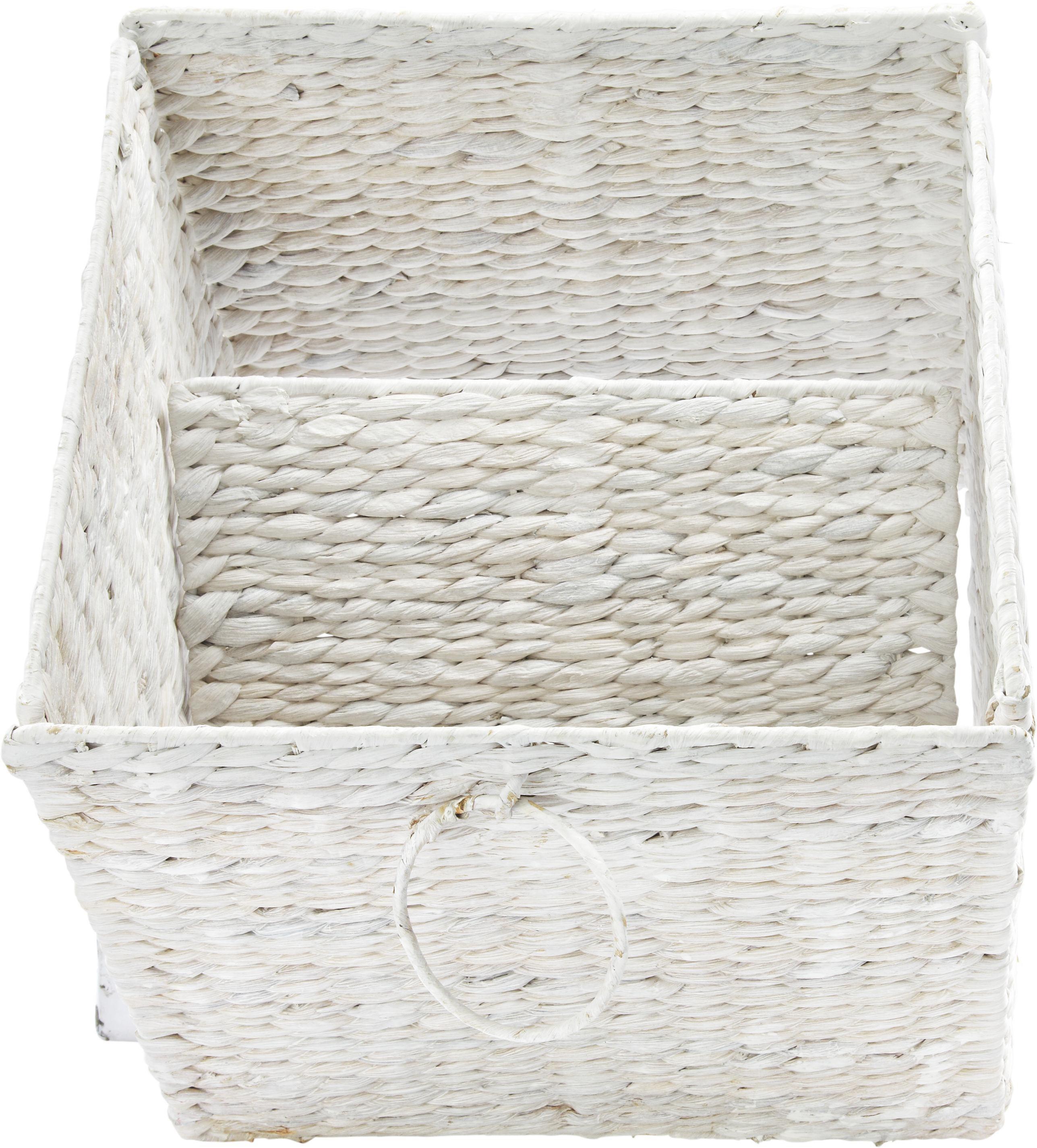 Tárolókosár Bea - fehér, romantikus/Landhaus, további természetes anyagok/fém (33/32/33cm) - ZANDIARA