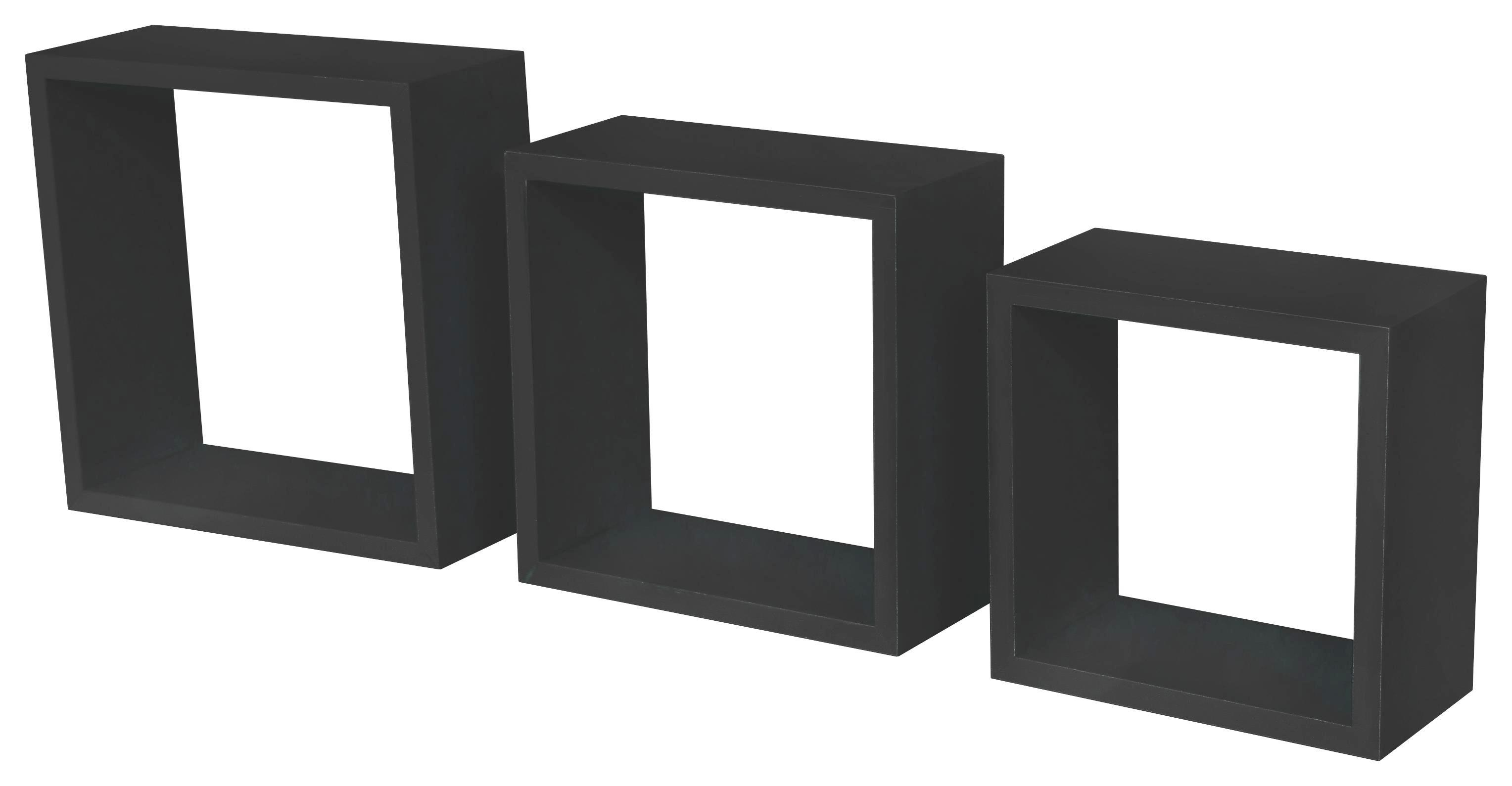 Falipolc Simple - fekete, modern, műanyag/faanyagok (30/30/12cm)