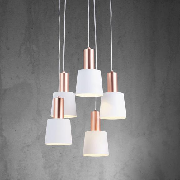 Pendelleuchte Martina 5-flammig - Weiß/Kupferfarben, MODERN, Metall (35/120cm) - Modern Living