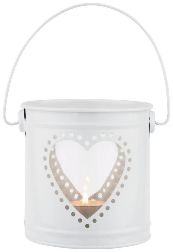 Svečnik Wanda - bela, Romantika, kovina (11/19cm)