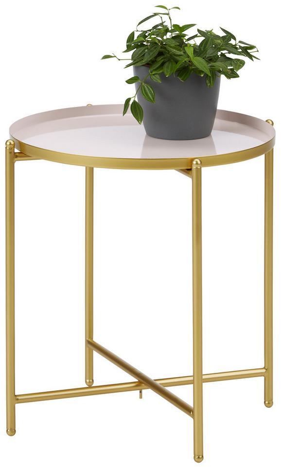 Beistelltisch Rosa/goldfarben - Goldfarben/Rosa, MODERN, Metall (37/40cm) - Modern Living