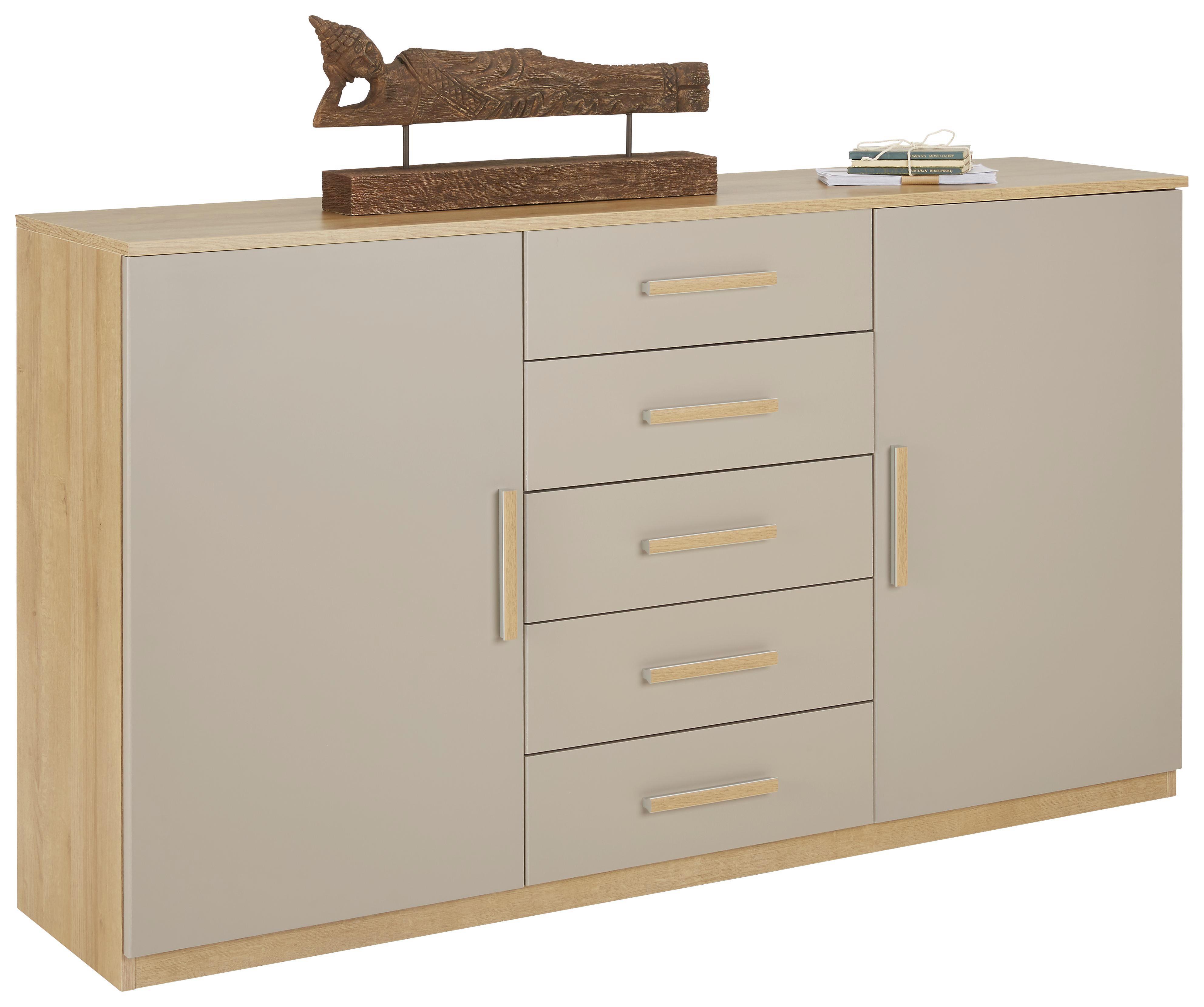 Kommode in Eiche/Fango - Eichefarben/Alufarben, KONVENTIONELL, Holzwerkstoff/Kunststoff (149/86/37cm) - MODERN LIVING