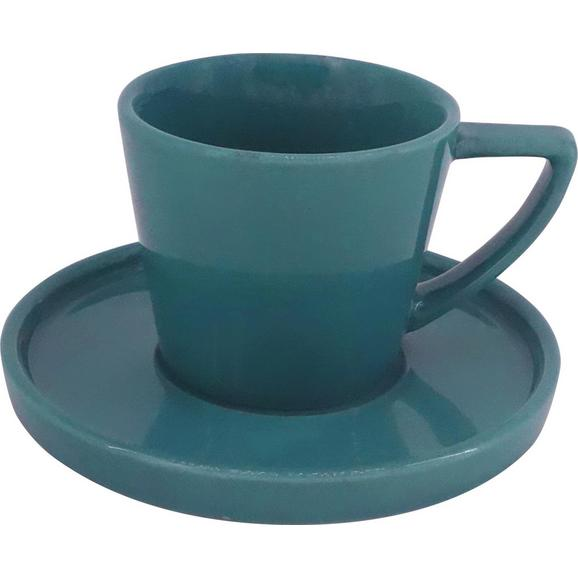 Espressotasse mit Untertasse Merit aus Steinzeug ca. 120ml - Petrol, MODERN, Keramik (0,120l) - Premium Living