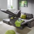 Wohnlandschaft in Grau mit Bettfunktion - Grau, KONVENTIONELL, Holzwerkstoff (169/267cm) - Premium Living