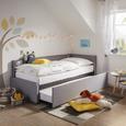 Ausziehbett in Hellgrau ca. 90x200cm - Hellgrau, KONVENTIONELL, Holzwerkstoff/Textil (90/200cm) - Premium Living