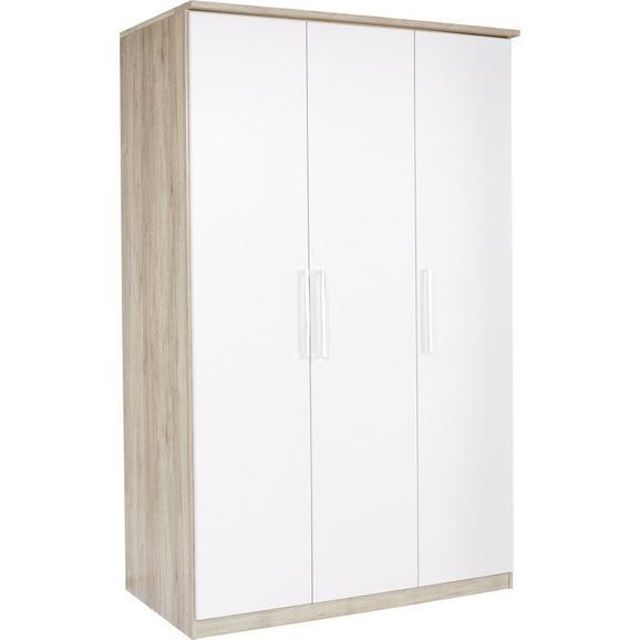 Dulap De Haine Wien - alb/culoare lemn stejar, Konventionell, compozit lemnos (136/212/56cm)