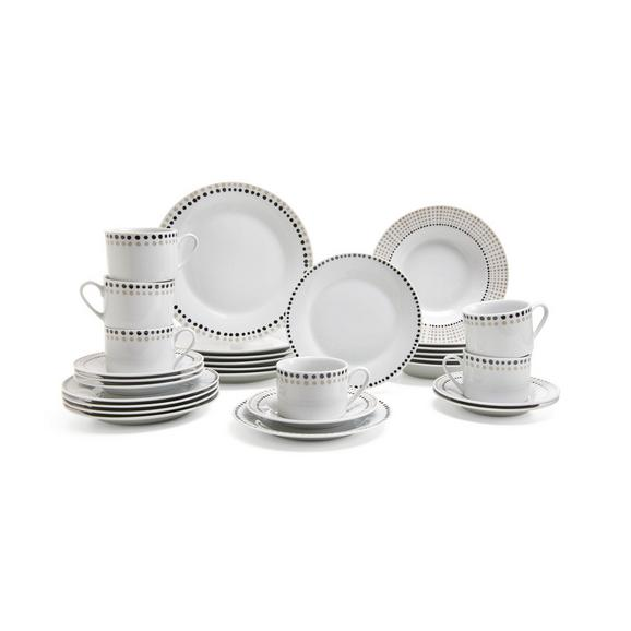 Kombiservice Marvie aus Keramik, 30-teilig - Schwarz/Weiß, Keramik - Mömax modern living