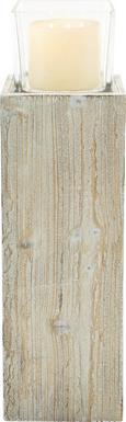 Windlicht Pia inkl. Glas H ca. 66cm - Klar/Kieferfarben, MODERN, Glas/Holz (18/18/66cm) - Mömax modern living