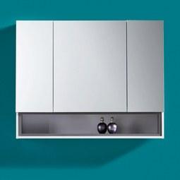 Spiegelschrank in Weiß 'Bianco' - Dunkelgrau/Weiß, MODERN, Glas/Holz (84/66,6/18,5cm) - Bessagi Home