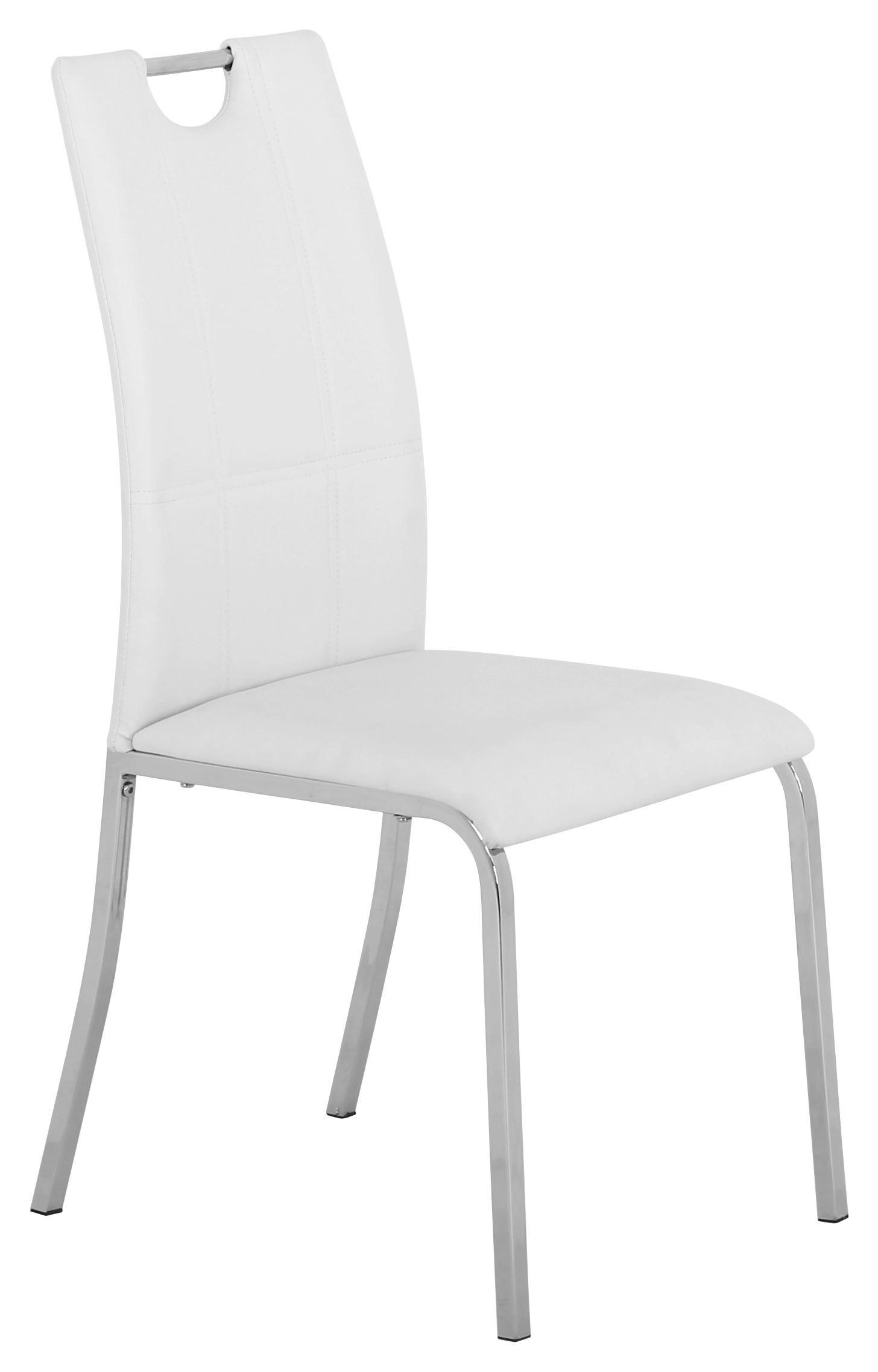 SZÉK MANDY - krómszínű/fehér, konvencionális, textil/fém (42,5/96/56cm)