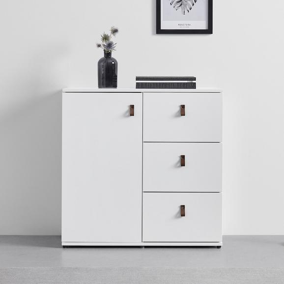 KOMMODE in weiß 'Mick' - Schwarz/Weiß, MODERN, Holzwerkstoff/Kunststoff (80/79,5/40cm) - Bessagi Home
