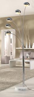 Stehleuchte Stella, max. 40 Watt - Chromfarben, Design, Stein/Metall (110/210cm) - Mömax modern living